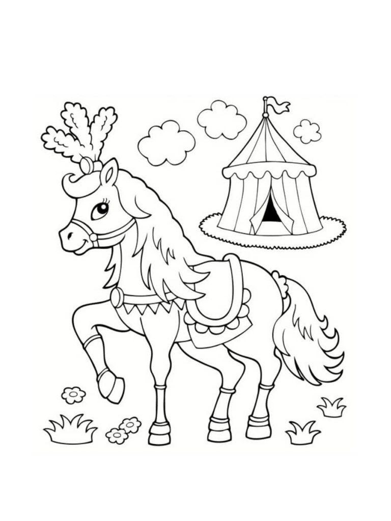 colorear caballo circo